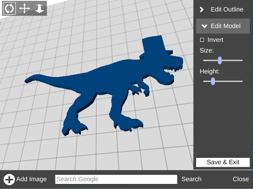T-Rex image after conversion to 3D model