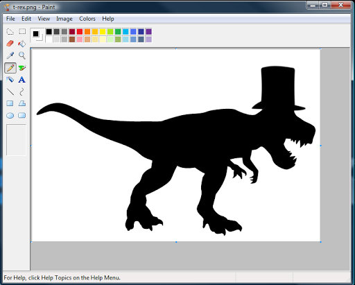 Your basic Tyrannosaurus Rex with top hat added for a bit of style.